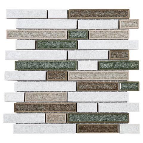 TileGen. Roman Art Mario Random Sized Ceramic Random Sized Glass Splitface Tile in Beige Wall Tile (10 sheets/9.6sqft.)