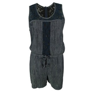 INC International Concepts Women's Lace Trim Linen Blend Romper - INDIGO - 10
