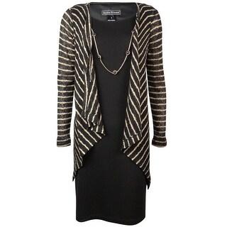 Jessica Howard Women's Striped Draped Necklace Cardigan Dress - 6