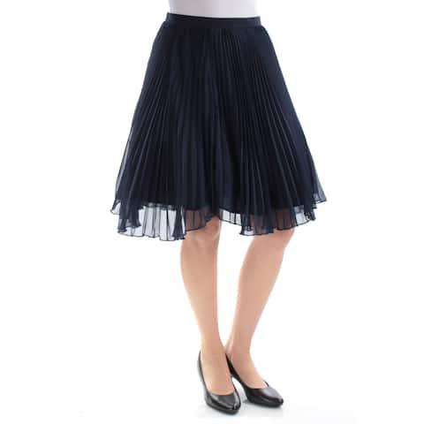 XSCAPE Womens Navy Knee Length Accordion Pleat Skirt Size: 4