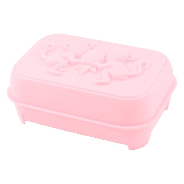 Light Pink Plastic Embossed Monkey Soap Dish Case Box Container