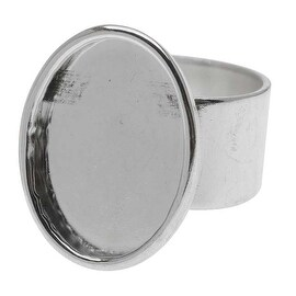 Nunn Design Bright Silver Plated Pewter Large Bezel Oval Adjustable Ring