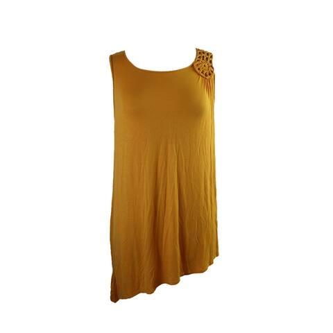 Grace Elements Yellow Sleeveless Crochet-Trim Asymmetrical-Hem Tunic XS