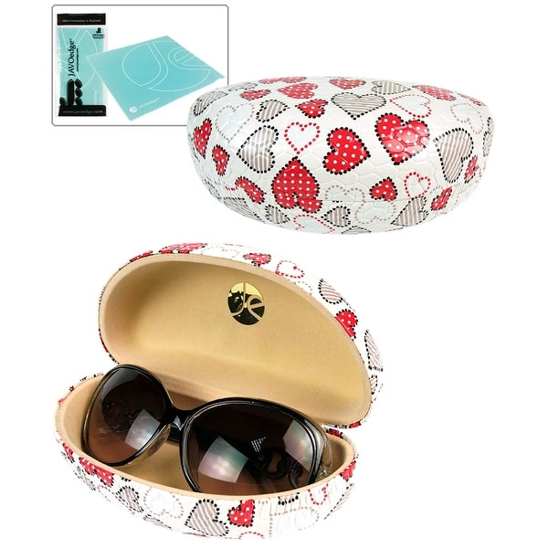 JAVOedge Hearts Printed Pattern Eyeglasses / Sunglasses Hard Clamshell Case with Bonus Microfiber Cloth