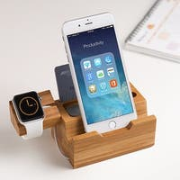 Wood Charging Station Apple Watch Chargering Bracket Stand Charging Dock for iPhone 7/7Plus/6s/6/Plus/5s,iPad,smartphones