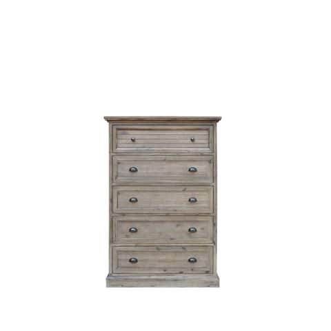 56 Solstice Gray Handcrafted 5 Drawer Bedroom Wood Chest