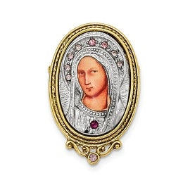 14k Gold IP and Silver tone Purple Crystal Mother Mary Brooch Pin