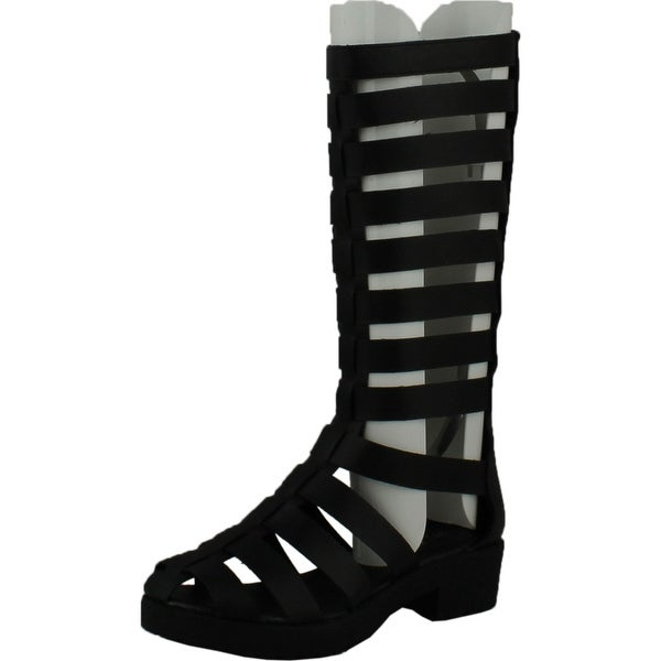 Forever Kendal 2 Womens Strappy Cut Out Platform Bootie Sandals Patent Black - Black pu - 6.5 b(m) us
