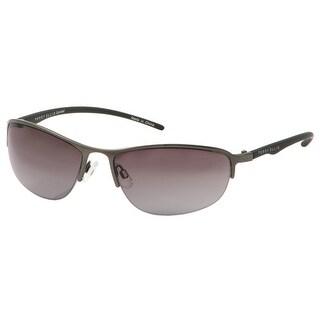 Perry Ellis Mens Bottom Rimless Metal Sunglasses Shiny Gunmetal PE14-1, Includes Perry Ellis Pouch, 100% UV Protection