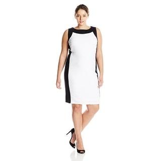 Calvin Klein Plus Size Sleeveless Colorblock Sheath Dress - 20W