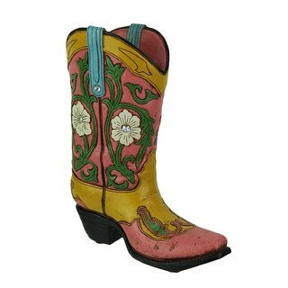 Jewel Accented Distressed Pink Cowboy Boot Flower Vase