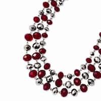Silvertone Red & Grey Epoxy Stones Necklace - 16in