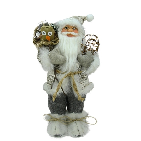 """12.5"""" Alpine Chic Beige and Gray Standing Santa with Snowshoes and Gift Bag"""