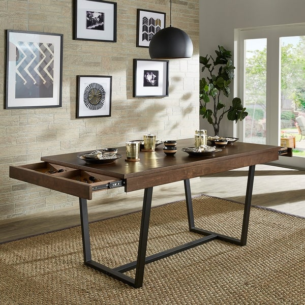 Ann Walnut Finish Black Metal Storage Dining Table by iNSPIRE Q Modern. Opens flyout.