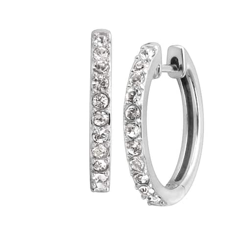 Crystaluxe Petite Hoop Earrings with Crystals in Sterling Silver - White