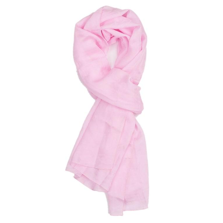 Bvlgari Womens Baby Pink Heritage Shelley Fine Twill Silk Skinny Scarf~RTL$220