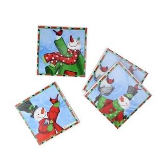 "Set of 4 Snowman & Red Cardinal Porcelain Tile Christmas Coasters 4"""