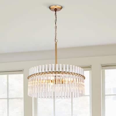 Casandra 5-light Brushed Brass Crystal Chandelier