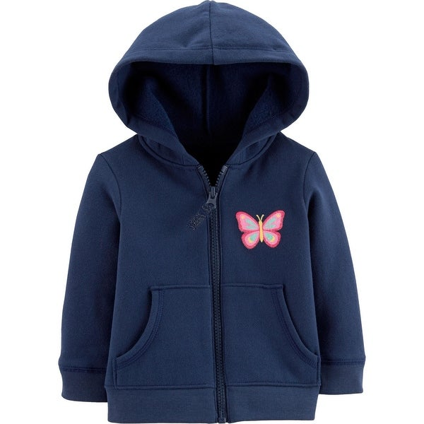 7ae65dea7 Shop Carter's Baby Girls' Zip-Up Hoodie, Butterfly, Navy - Free Shipping On  Orders Over $45 - Overstock - 25614123
