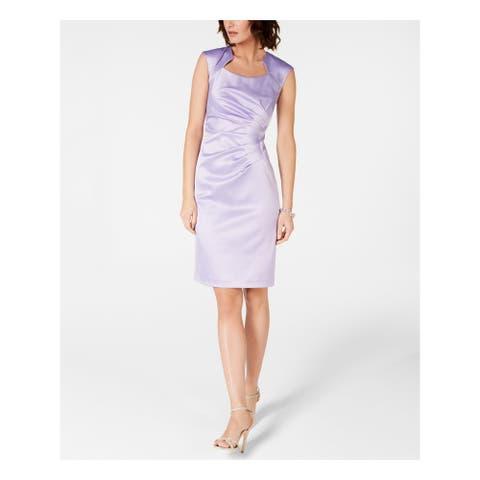 TAHARI Purple Cap Sleeve Knee Length Sheath Dress Size 14