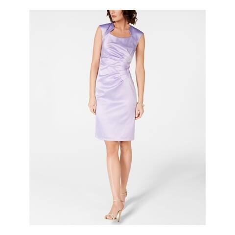 TAHARI Purple Cap Sleeve Knee Length Sheath Dress Size 6