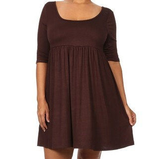 Women - Plus Size Half Sleeve Solid Babydoll Casual Tunic Top Dress Brown