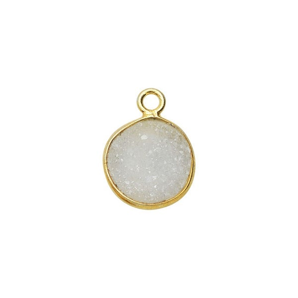 Agate Druzy Gemstone and Gold Bezel Pendant, Circle 11mm, 1 Piece, Gold/White