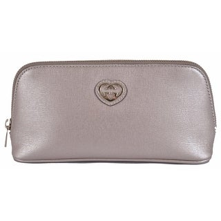 Gucci Women's 338190 Silver Grey Leather GG Heart Cosmetic Case Bag