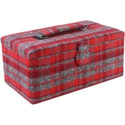 """11.5""""X6.5""""X5"""" Red Plaid Print On Flannel - Sewing Basket Rectangle"""