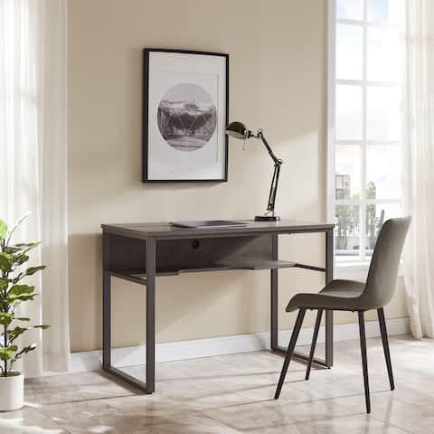 Leick Home 70006-CJGM Metal Base Kona Desk with Recessed Shelf