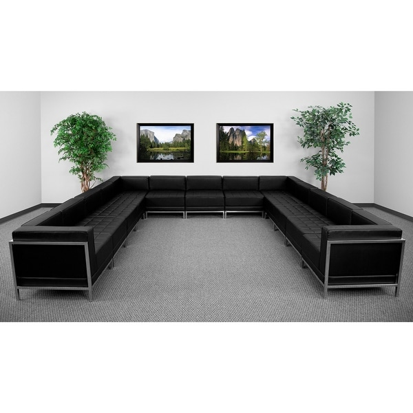 Shop Chancellor Gwen Black Leather U Shape Sectional Sofa Sets 2