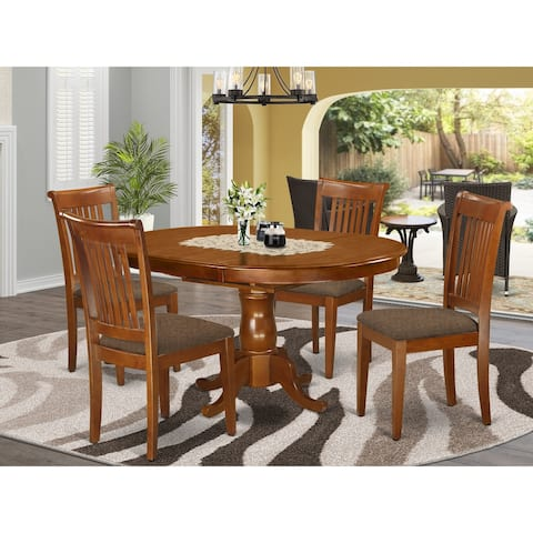 5 Pc Dining room set-Oval Dining Table with Leaf and 4 Dining Chairs (Finish Option)