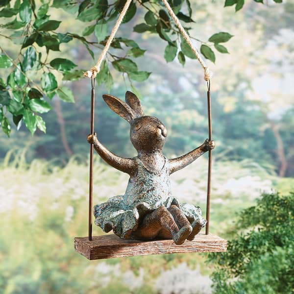 Art Artifact Outdoor Swinging Ballerina Bunny Sculpture Hanging Patio Lawn And Garden Decor 14 In X 17 16