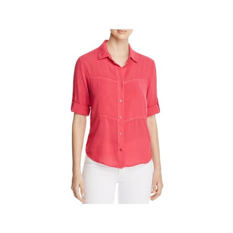 Side Stitch Womens Button-Down Top Hi Low Adjustable Sleeve