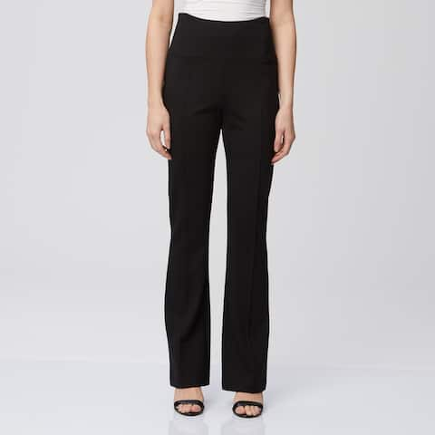 Seasonless Ponte High Waist Pull on Pant with Gold Side Zippers
