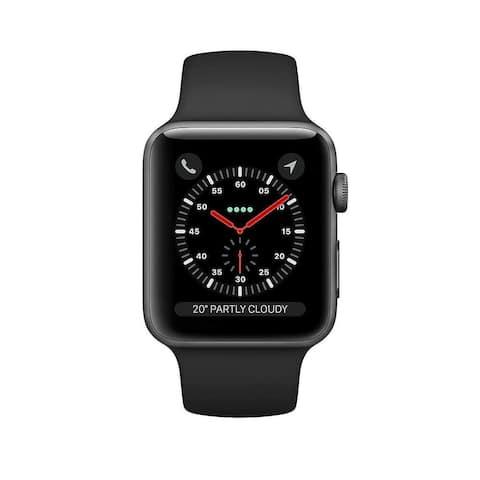 Refurbished Apple Watch 38mm Series 3 GPS Space Gray & Black Band
