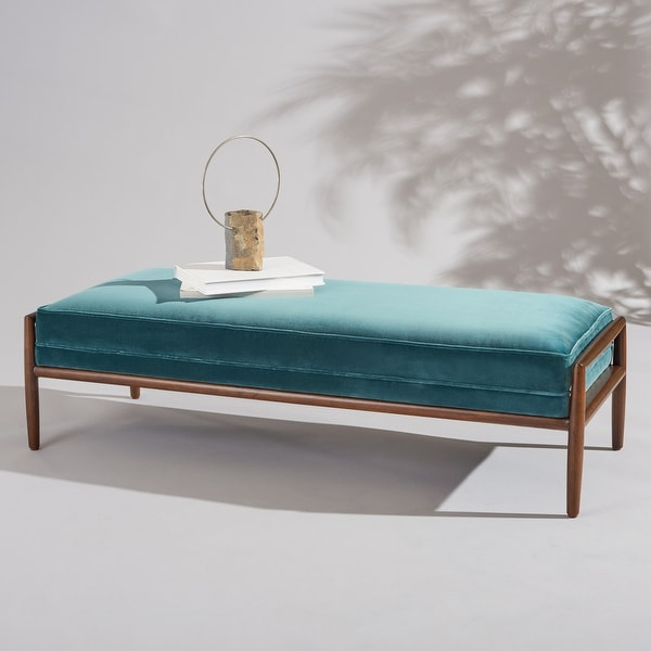 """SAFAVIEH Couture Beatrice Velvet Bench - 55.1"""" W x 22"""" L x 16.9"""" H. Opens flyout."""