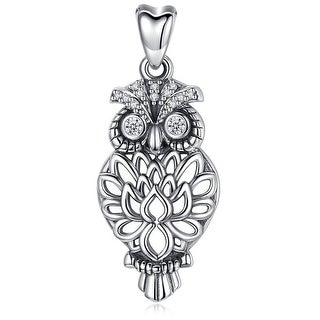 """Link to Owl Bird Lotus Feather Sterling Silver Pendant Necklace 18"""" Similar Items in Necklaces"""