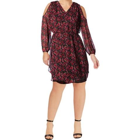 Lauren Ralph Lauren Womens Plus Ayunli Casual Dress Floral Print Cold-Shoulder