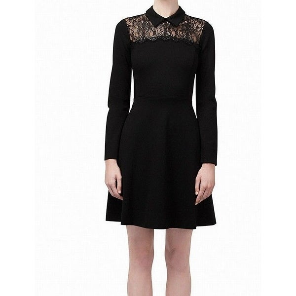 Shop Erin Fetherston Black Womens Size 4 Lace Collar Skater Dress