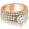 1.45 cttw. 14K Rose Gold Cathedral Two Row Round Diamond Bridal Set - Thumbnail 0