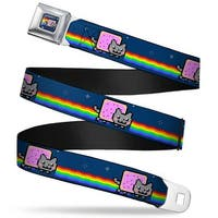 Nyan Cat Blue Full Color Nyan Cat W Rainbow Streak Repeat Blue Webbing Seatbelt Belt
