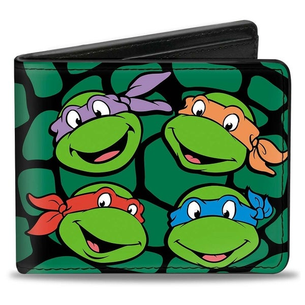 Classic Tmnt Turtle Faces Black Green Turtle Shell Bi Fold Wallet - One Size Fits most