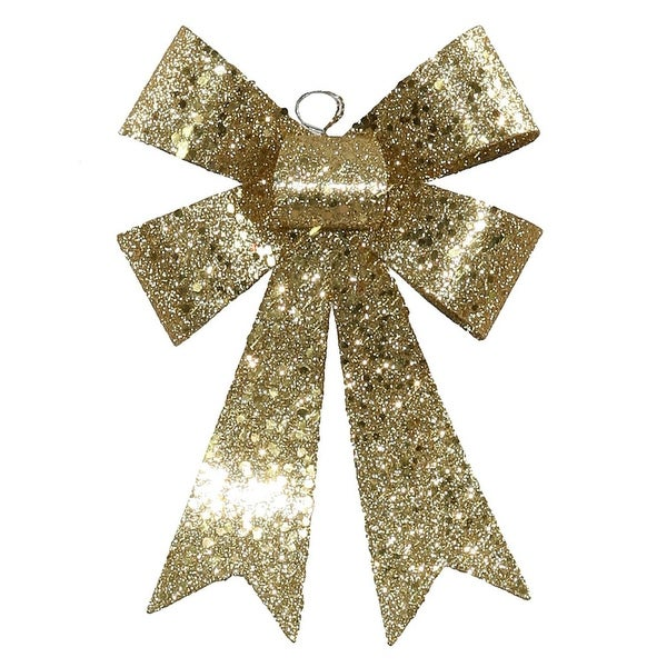 """7"""" Gold Sequin and Glitter Bow Christmas Ornament"""