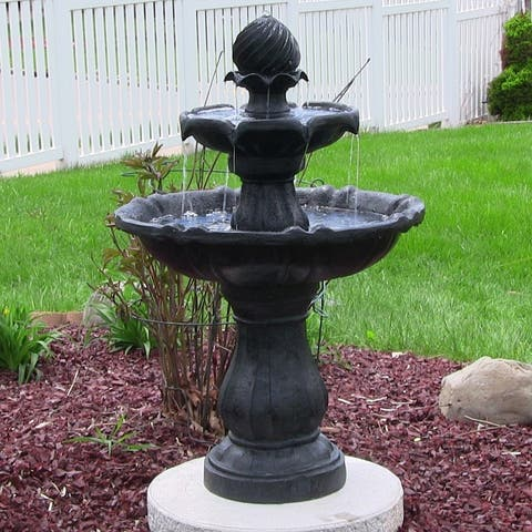Sunnydaze Two Tier Solar-on-Demand Fountain, 35 Inch Tall