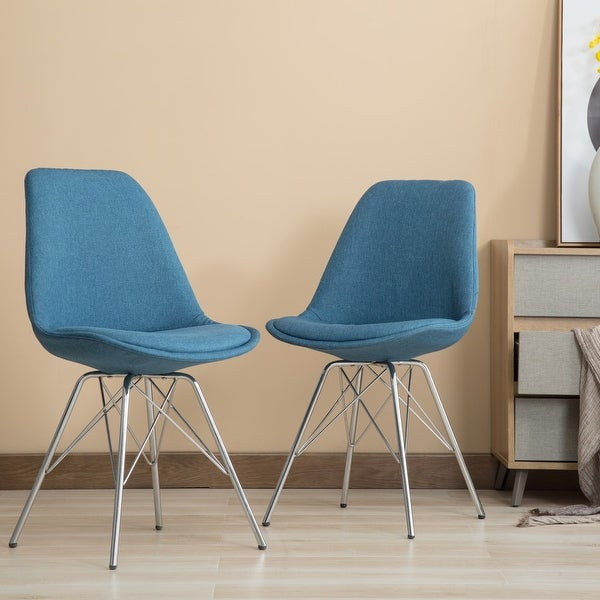 Porthos Home Upholstered Chrome Dining Chairs (Set of 2). Opens flyout.