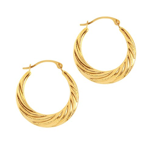 Mcs Jewelry Inc 14 KARAT YELLOW GOLD SMALL SWIRLED HOOP EARRINGS
