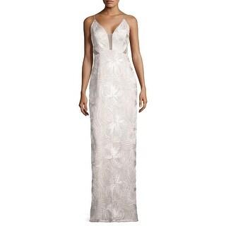 Aidan Mattox Piped Sleeveless Evening Gown Dress Ivory - 6