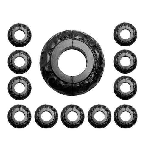 "Black Radiator Flanges Aluminium Escutcheon Ring Plate 1.25"" ID Decorative Rust Resistant Easy Assemble Pipe Collars Pack of 12"
