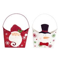 Pack of 6 Red and White Santa and Snowman Christmas Wall Baskets 15""